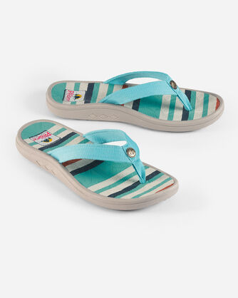 WOMEN'S SURF STRIPE SANDALS, AQUA, large
