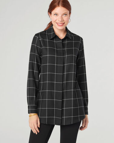 CASSANDRA SHIRT, BLACK WINDOWPANE, large