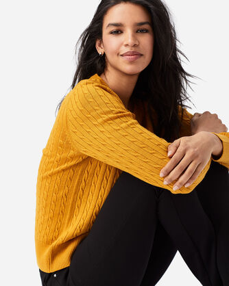 WOMEN'S MERINO CABLE PULLOVER IN GOLD HEATHER