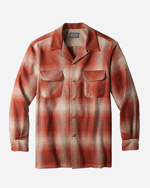 MEN'S BOARD SHIRT, RED/TAN OMBRE, large