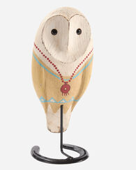 WOODEN OWL COUPLE ON HORSESHOE STANDS, MULTI, large
