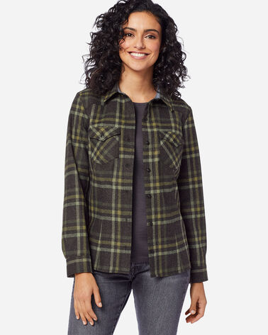 WOMEN'S WOOL SHANIKO WESTERN SHIRT IN CHARCOAL/GREEN PLAID