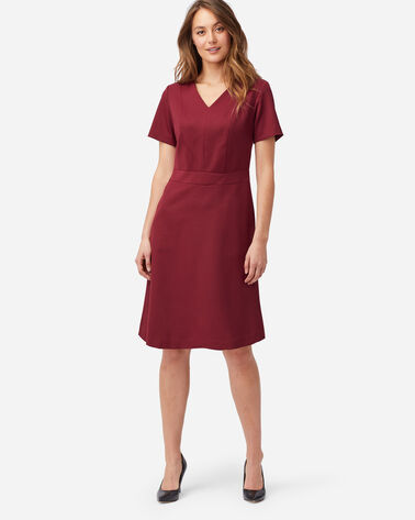 SEASONLESS WOOL SHORT-SLEEVE DRESS IN CABERNET