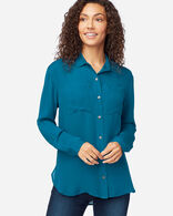 WOMEN'S LONG-SLEEVE SILK BUTTON-UP SHIRT IN MOROCCAN BLUE