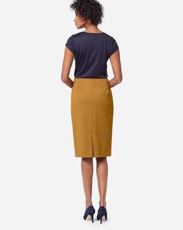 ADDITIONAL VIEW OF SEASONLESS WOOL PENCIL SKIRT IN GOLDEN BROWN