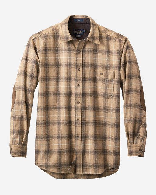 MEN'S ELBOW-PATCH TRAIL SHIRT, CAMEL PLAID, large