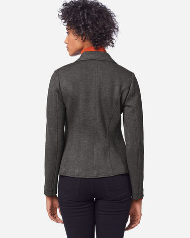 ADDITIONAL VIEW OF WOMEN'S DOUBLE KNIT BLAZER IN CHARCOAL HTHR/SOFT GREY