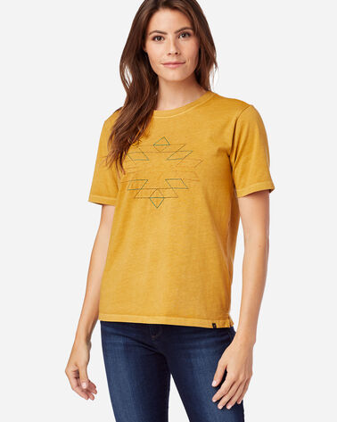 WOMEN'S DESCHUTES EMBROIDERED TEE IN MUSTARD