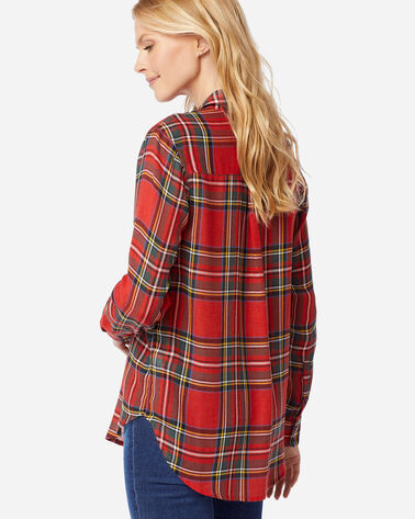 WOMEN'S HELENA BUTTON FRONT SHIRT in RED STEWART TARTAN
