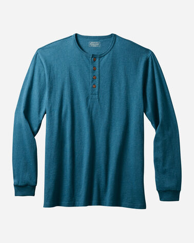 MEN'S LONG-SLEEVE DESCHUTES HENLEY IN BLUE TEAL HEATHER