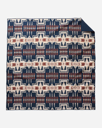 ADDITIONAL VIEW OF HARDING COVERLET IN NAVY MULTI