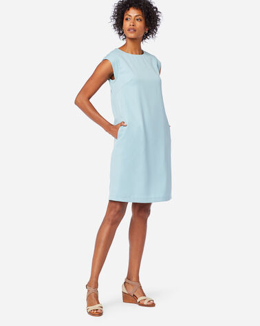 SEASONLESS WOOL CHARLI SHIFT DRESS IN DUSTY AQUA