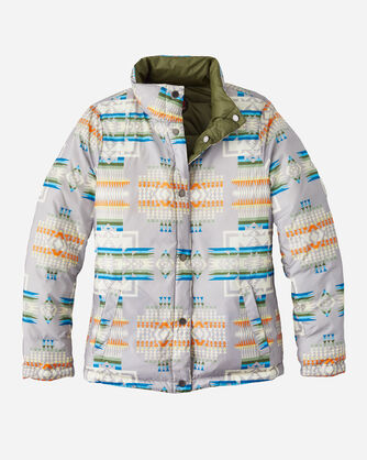ALTERNATE VIEW OF WOMEN'S PACKABLE DOWN REVERSIBLE JACKET IN GREY CHIEF JOSEPH/OLIVE