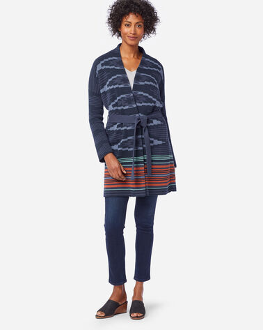 ALTERNATE VIEW OF WOMEN'S NORA COTTON CARDIGAN IN NAVY SKYLINE