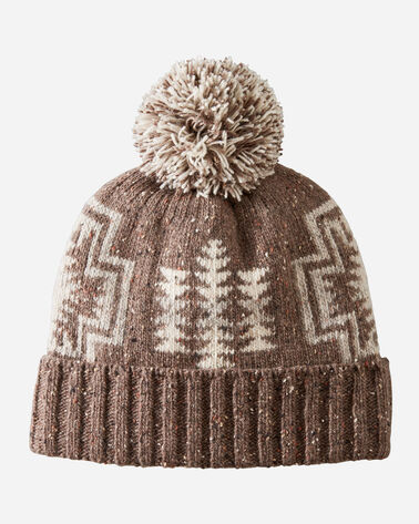 JACQUARD POM POM HAT IN HARDING BROWN