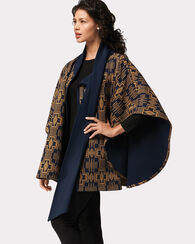 HARDING JACQUARD REVERSIBLE KNIT CAPE, NAVY/BRONZE, large