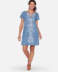 TALA EMBROIDERED SHIFT DRESS