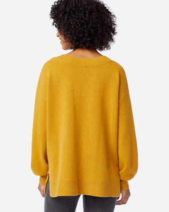 ALTERNATE VIEW OF WOMEN'S CASHMERE EASY FIT V-NECK IN GOLD HEATHER