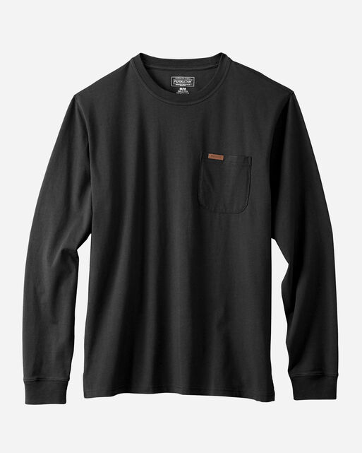 LONG SLEEVE DESCHUTES POCKET TEE, BLACK, large