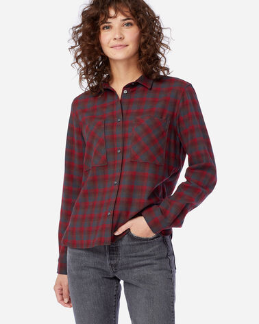 WOMEN'S ULTRALUXE MERINO PIPER SHIRT IN RED/GREY OMBRE
