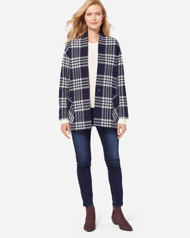 COLLARLESS PLAID COAT, NAVY MENZIES TARTAN, large