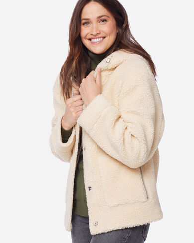 WOMEN'S BERBER FLEECE HOODED JACKET IN NATURAL
