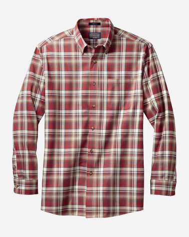 MEN'S SOMERSET BUTTON-DOWN SHIRT IN RED/TAN/BROWN PLAID