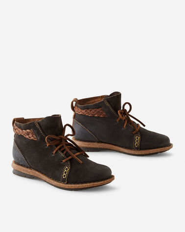 TEMPLE DISTRESSED LEATHER BOOTIES IN DARK GREY