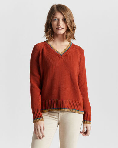 WOMEN'S TIPPED COTTON SWEATER IN PERSIMMON RED