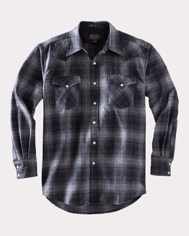SNAP-FRONT WESTERN CANYON SHIRT, CHARCOAL GREY PLAID, large