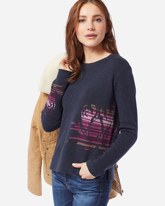 WOMEN'S ROSE CITY PULLOVER SWEATER IN NAVY/ROSE