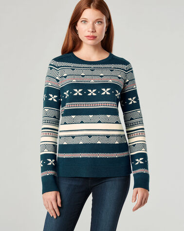 FAIR ISLE MERINO CREWNECK SWEATER, AEGEAN MULTI, large