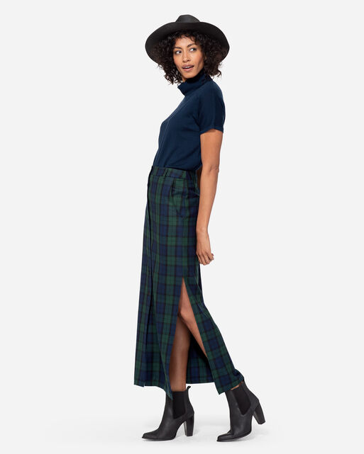 BUTTON-FRONT LONG WOOL SKIRT, BLACK WATCH TARTAN, large