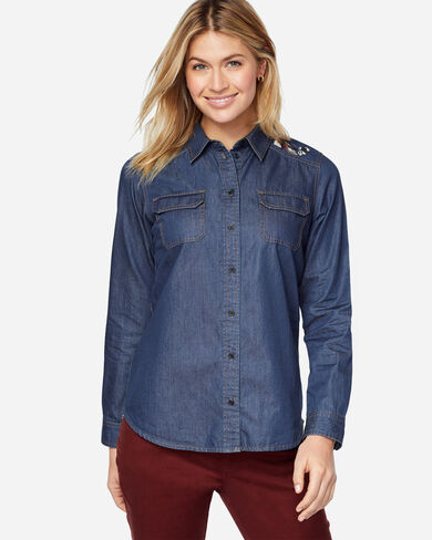 EMBROIDERED CHAMBRAY SHIRT, , large
