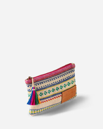 ADDITIONAL VIEW OF PALOMA STRIPE ZIP POUCH IN BRIGHT STRIPE