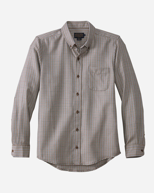 FITTED EVERGREEN WORSTED WOOL SHIRT, GREY/RUST HOUNDSTOOTH, large