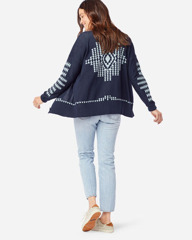 WOMEN'S MEDALLION CARDIGAN IN MIDNIGHT NAVY/AQUA