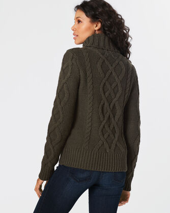 LUXE CABLE TURTLENECK, DARK MOSS, large