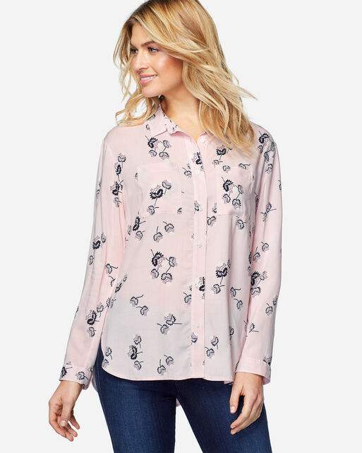 LONG SLEEVE THISTLE BUTTON-UP BLOUSE, WHISPER PINK, large