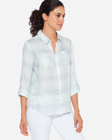 PLAID ROLL-SLEEVE SHIRT, , large