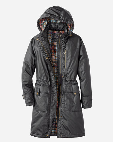 WAXED COTTON HOODED A-LINE JACKET