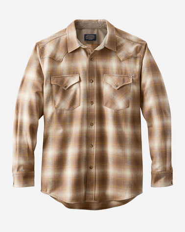 MEN'S SNAP-FRONT WESTERN CANYON SHIRT, TAUPE/GOLD OMBRE, large