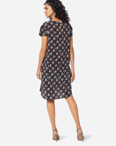 ADDITIONAL VIEW OF SILK SHIFT DRESS IN NAVY ROSE CITY FLORAL