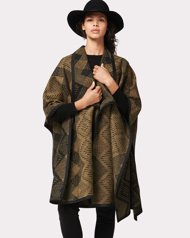 ESCONDIDO BLANKET WRAP, TAN/BLACK, large