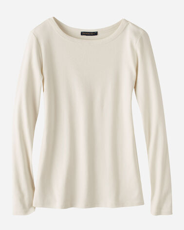 WOMEN'S LONG-SLEEVE COTTON RIBBED TEE IN ANTIQUE WHITE