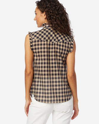 WOMEN'S AIRY COTTON SLEEVELESS SHIRT IN NAVY/TAN CHECK
