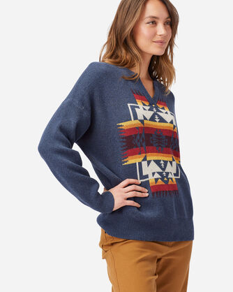 ALTERNATE VIEW OF WOMEN'S COTTON SWEATER IN NAVY CHIEF JOSEPH