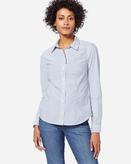 WOMEN'S AUDREY FITTED STRIPE SHIRT IN BLUE/WHITE