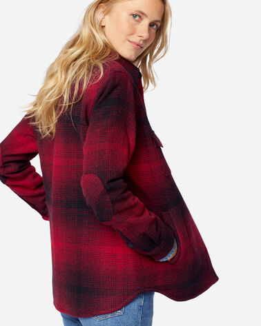 ADDITIONAL VIEW OF WOMEN'S FREMONT SHIRT JACKET IN RED/BLACK OMBRE