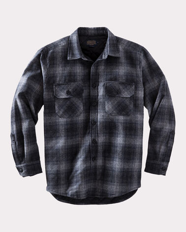 QUILTED SHIRT JAC, CHARCOAL GREY PLAID, large